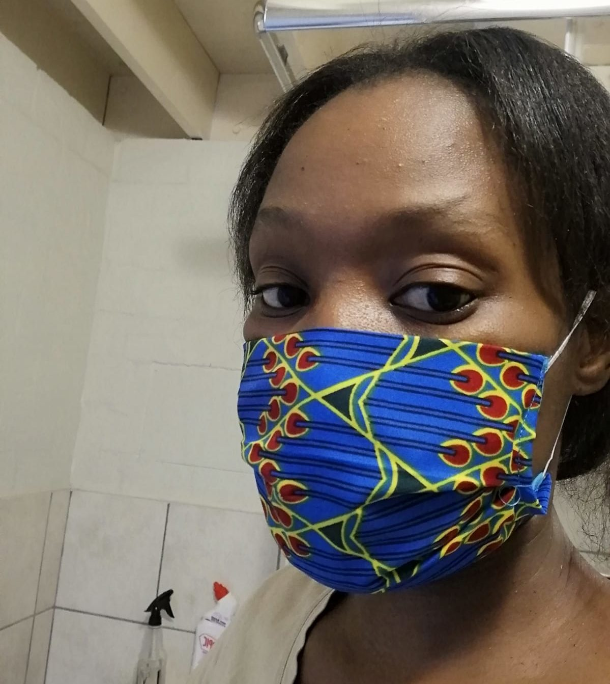 Girl wearing cloth face mask