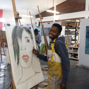 A learner doing art